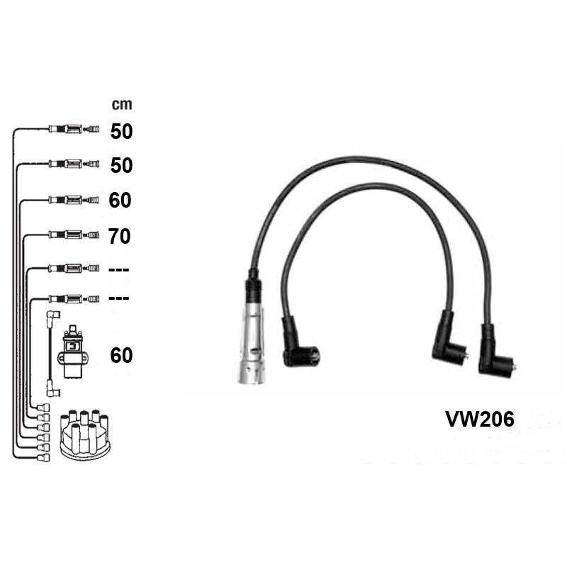 Žvakių laidų komplektas PVL-VW206