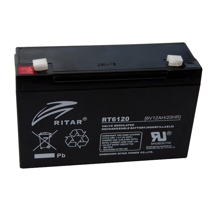 RITAR RT6120 6V 12Ah AGM VRLA battery