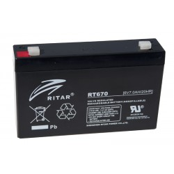 RITAR RT670 6V 7Ah AGM VRLA battery