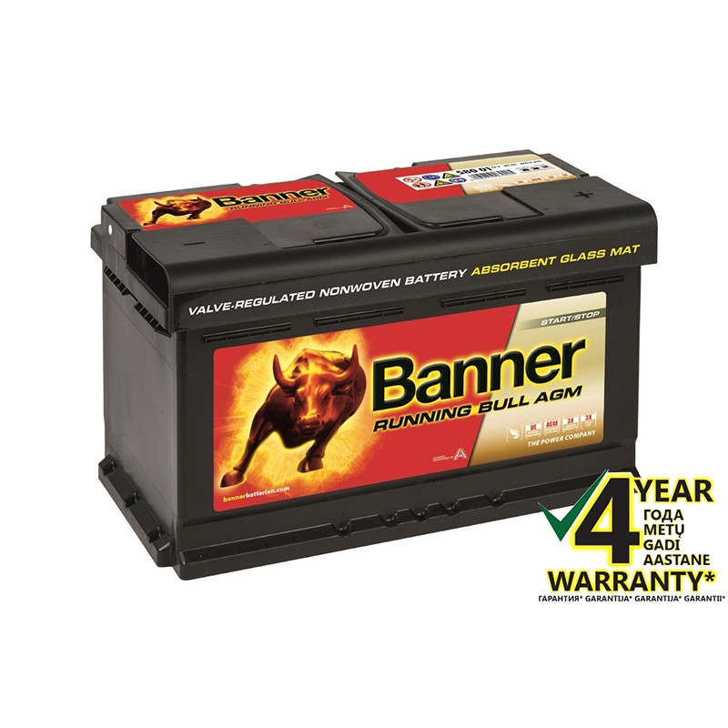 BANNER Running Bull AGM 58001 80Ah battery